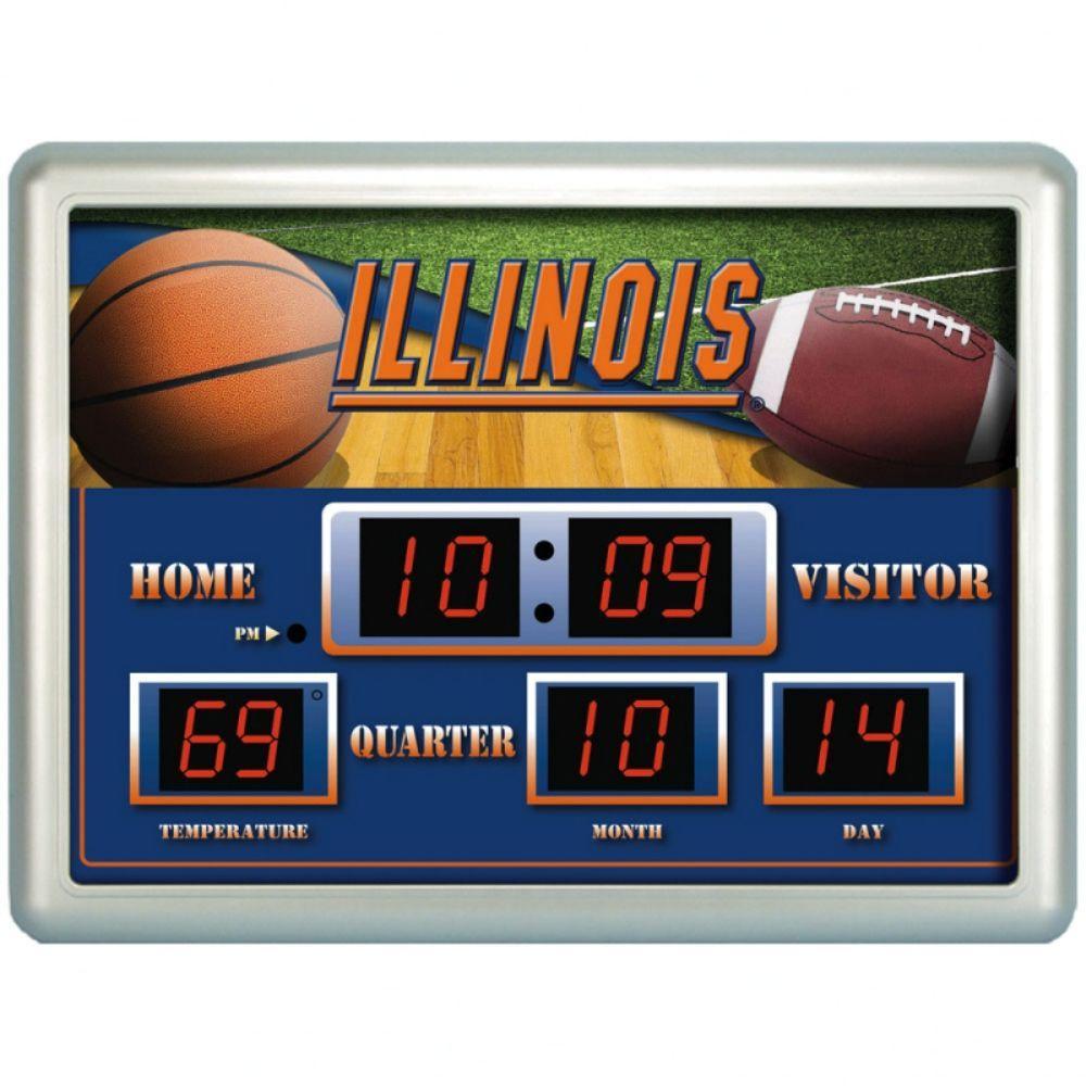 null University of Illinois 14 in. x 19 in. Scoreboard Clock with Temperature