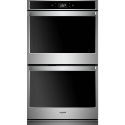 30 in. Smart Double Electric Wall Oven with True Convection Cooking in Black on Stainless Steel