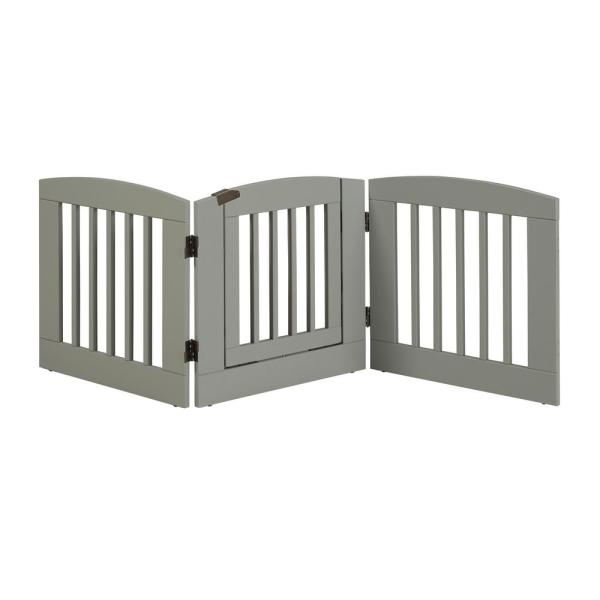 Ruffluv 24 in. H Wood 3-Panel Expansion Grey Pet Gate with Door