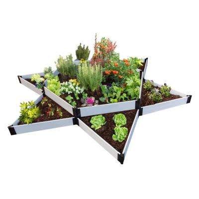 144 in. x 144 in. x 16 in. Classic White Composite Garden Star Raised Garden Bed