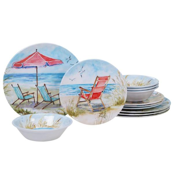 Ocean View 12-Piece Coastal Multi-colored Melamine Outdoor Dinnerware Set (Service for 4)