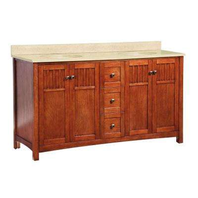 Knoxville 61 in. W x 22 in. D Vanity in Nutmeg with Double Bowl Colorpoint Vanity Top in Maui