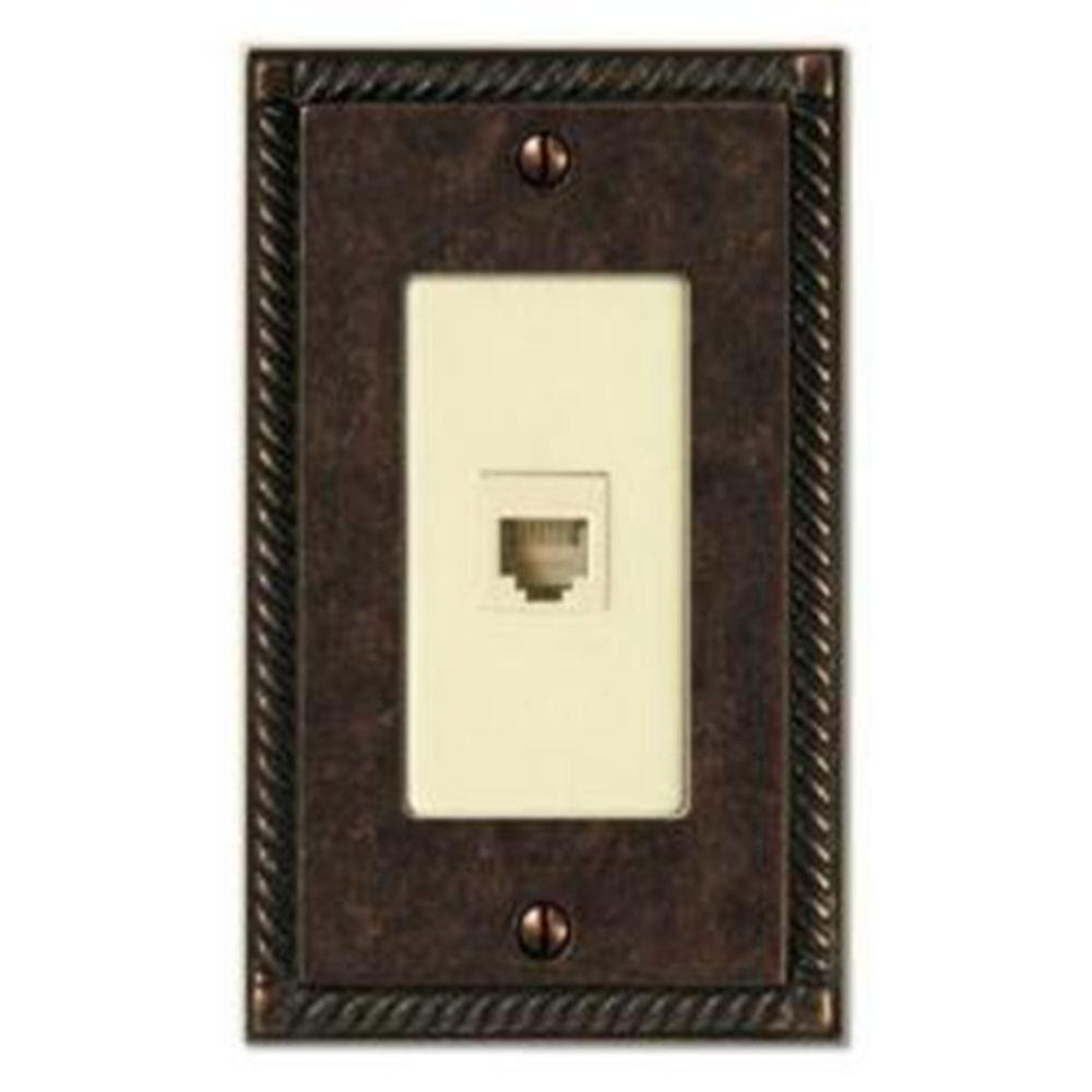 Creative Accents 1 Gang Tuscan Phone Jack Wall Plate - Antique Brass