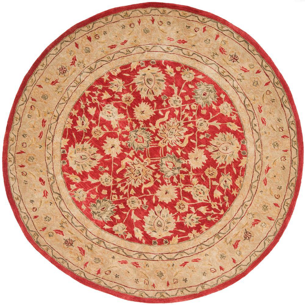 Safavieh Anatolia Red Ivory 8 Ft X 8 Ft Round Area Rug