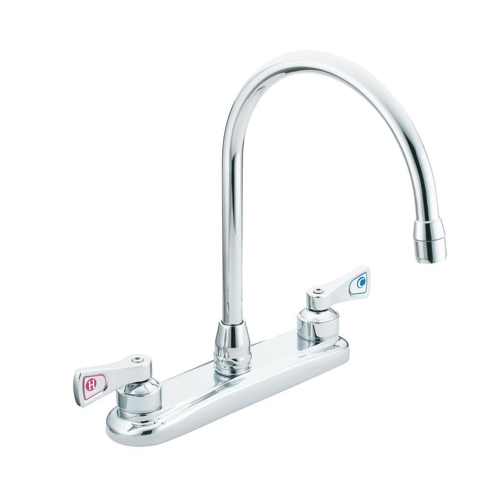 MOEN M-Dura 2-Handle High-Arc Standard Kitchen Faucet in Chrome