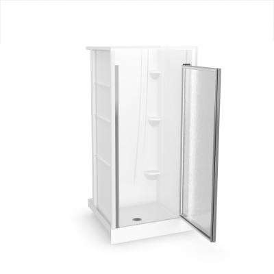A2 36 in. x 36 in. x 76 in. Alcove Shower Kit in White with Door in Chrome