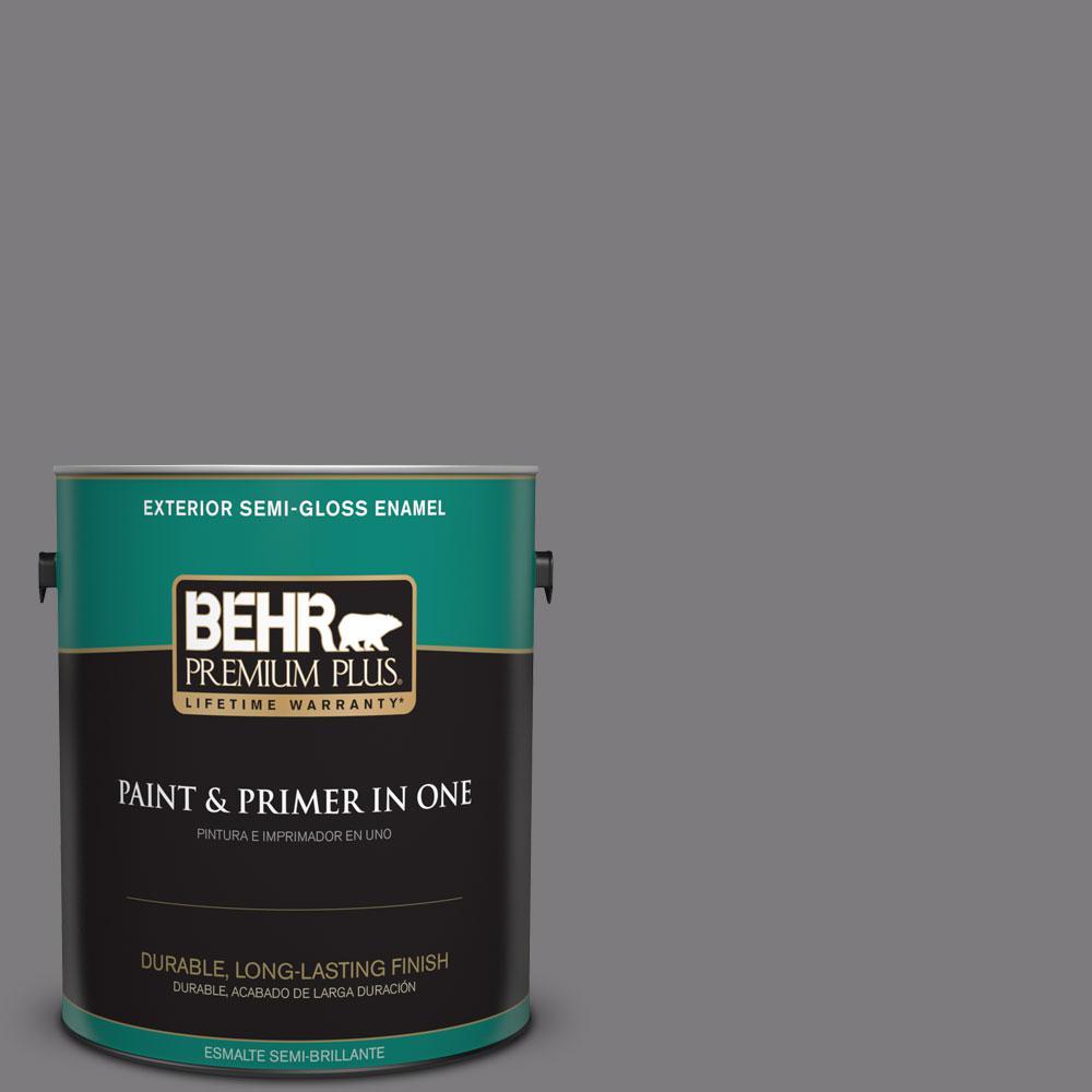 1-gal. #BXC-58 Stormy Gray Semi-Gloss Enamel Exterior Paint