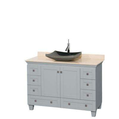 Acclaim 48 in. W x 22 in. D Vanity in Oyster Gray with Marble Vanity Top in Ivory with Black Basin