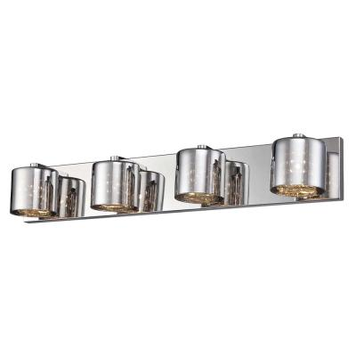 Alaura 28.75 in. 4-Light Chrome Vanity Light with Chrome Glass Shades