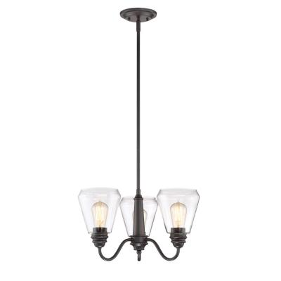 Foundry 3-Light Satin Bronze Chandelier with Clear Glass Shade