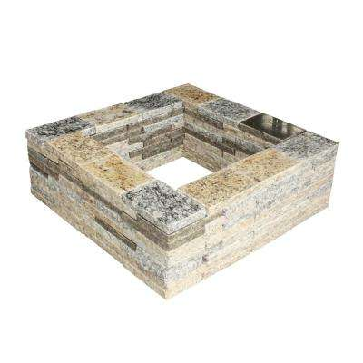 21 in. Granite Square Fire Pit Kit
