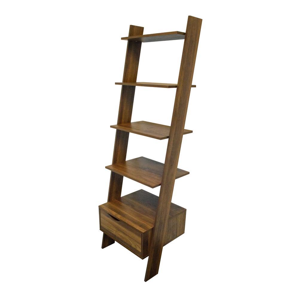 71 in. Danish Walnut Wood 5-shelf Ladder Bookcase with Open Back