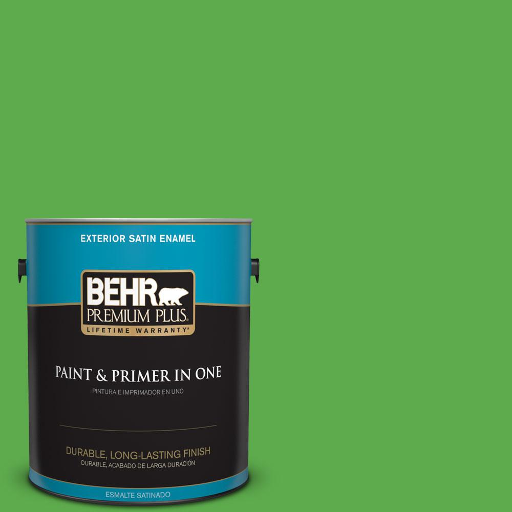 BEHR Premium Plus 1-gal. #440B-6 Barnyard Grass Satin Enamel Exterior Paint
