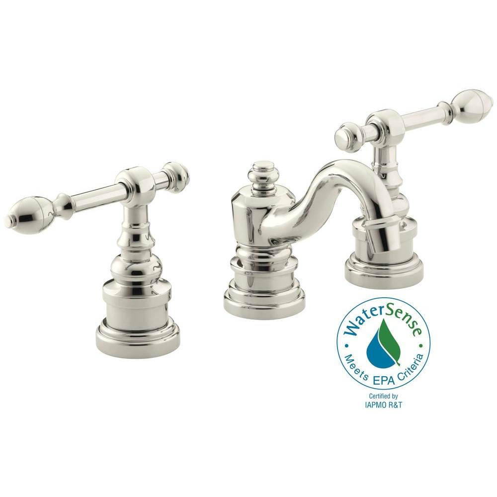 KOHLER IV Georges Brass 8 in. Widespread 2-Handle Low-Arc Bathroom Faucet in Vibrant Polished Nickel