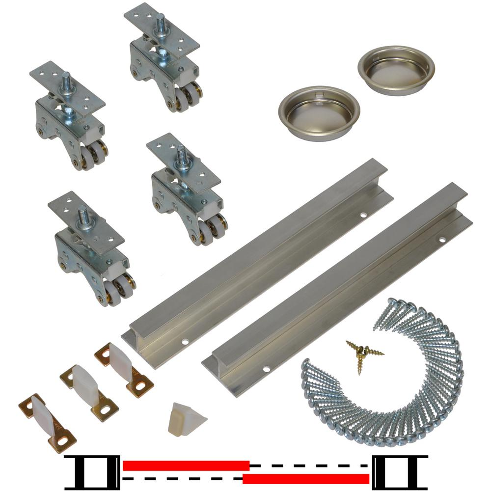 Johnson Hardware 200SD Series 96 In. Track And Hardware Set For 2 Door  Bypass