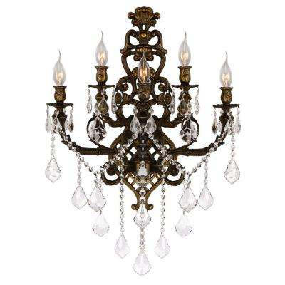 Versailles Collection 5-Light Antique Bronze and Clear Crystal Sconce