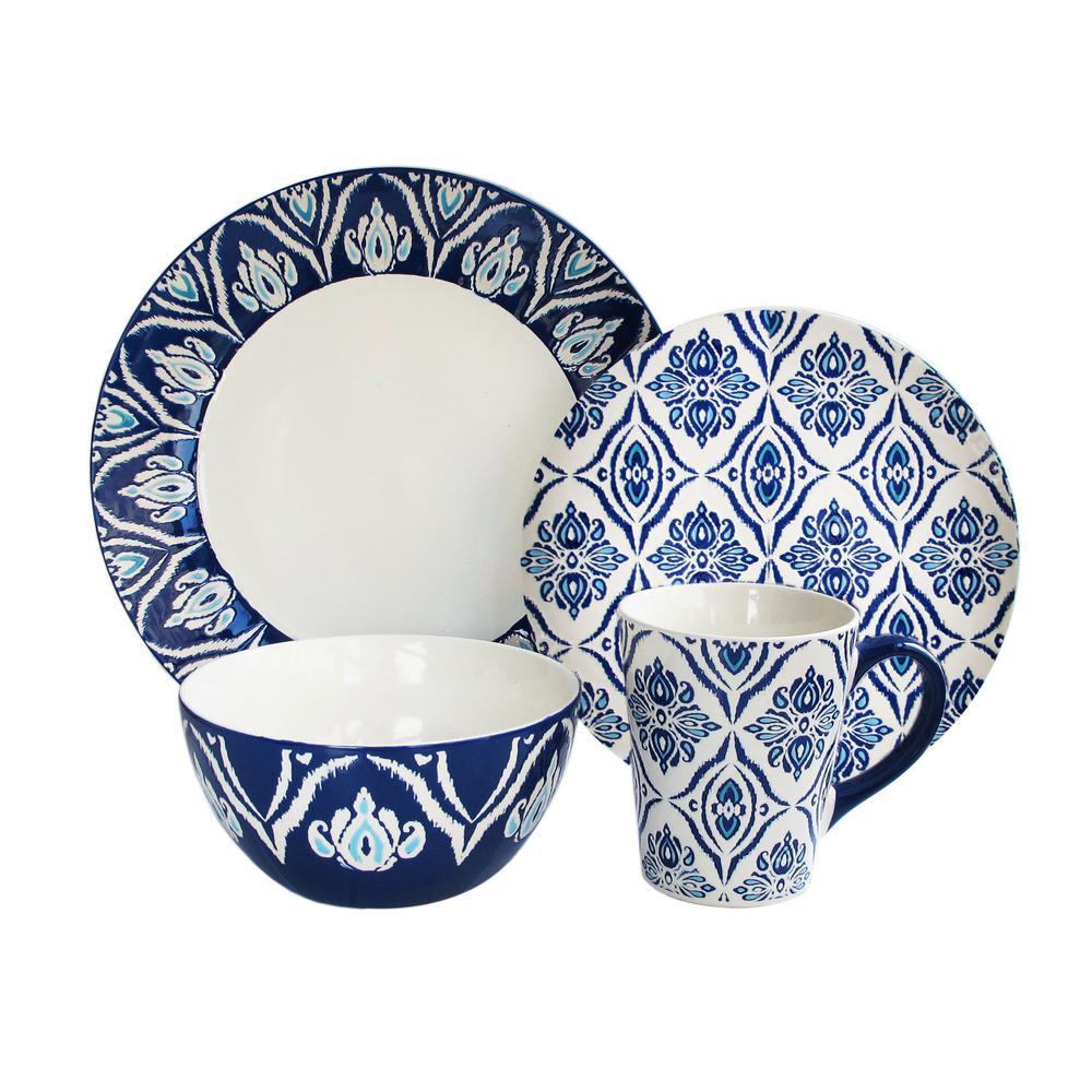 16-Piece White/Blue Pirouette Dinnerware Set