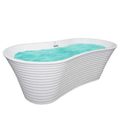 67 in. Acrylic Center Drain Oval Double Slipper Flatbottom Freestanding Bathtub in White with Overflow