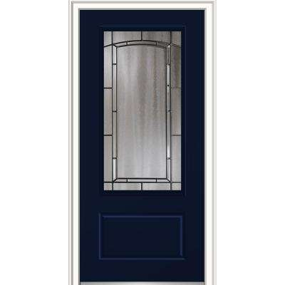 36in. x 80in. Solstice Glass Right-Hand 3/4 Lite Decorative 1-Panel Classic Painted Fiberglass Smooth Prehung Front Door