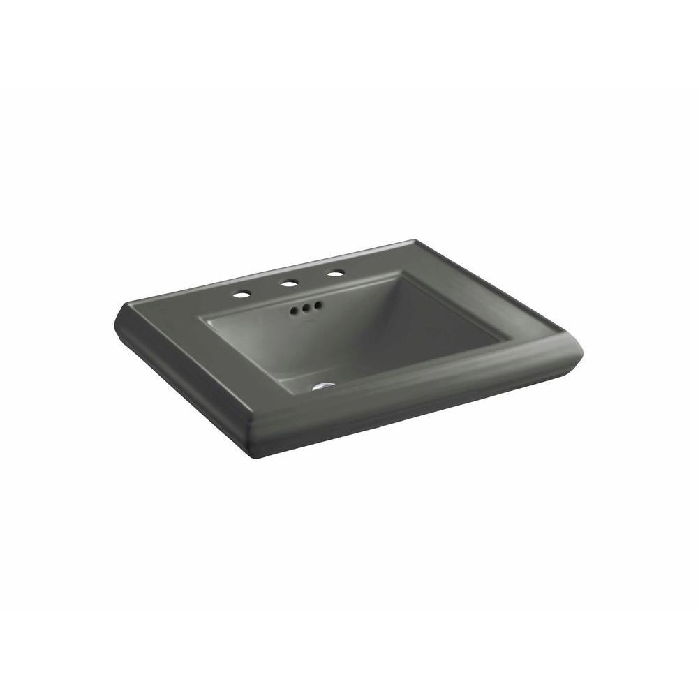 KOHLER Memoirs 5-3/8 in. Ceramic Pedestal Sink Basin in Ice Grey with Overflow Drain
