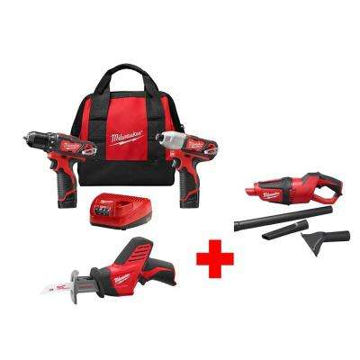 M12 12-Volt Lithium-Ion Cordless Combo Kit (3-Tool) with Free M12 Vacuum