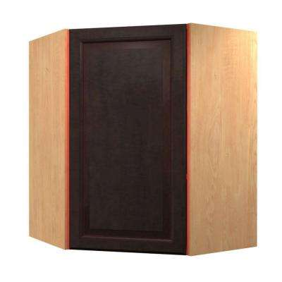 Ancona Ready to Assemble 24 x 30 x 12 in. Angle Corner Wall Cabinet with 1 Soft Close Door in Mocha