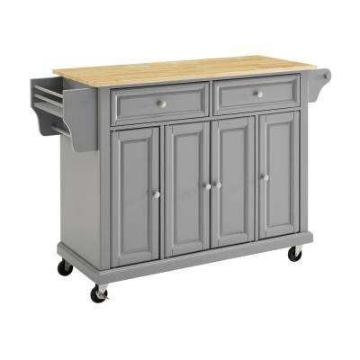 Grey Kitchen Cart with Natural Wood Top