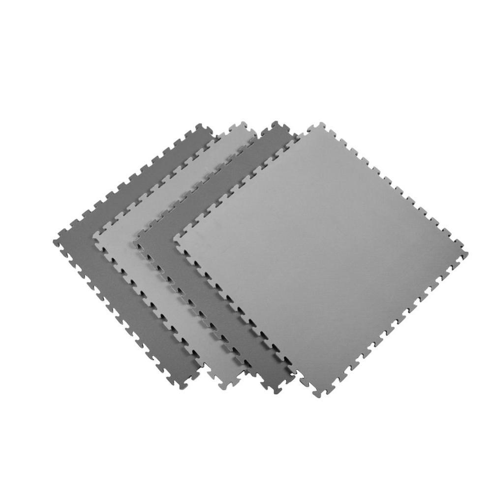 Black/Gray 24 in. x 24 in. EVA Foam Sport Multi-Purpose Reversible Interlocking Tile (12-Tile)