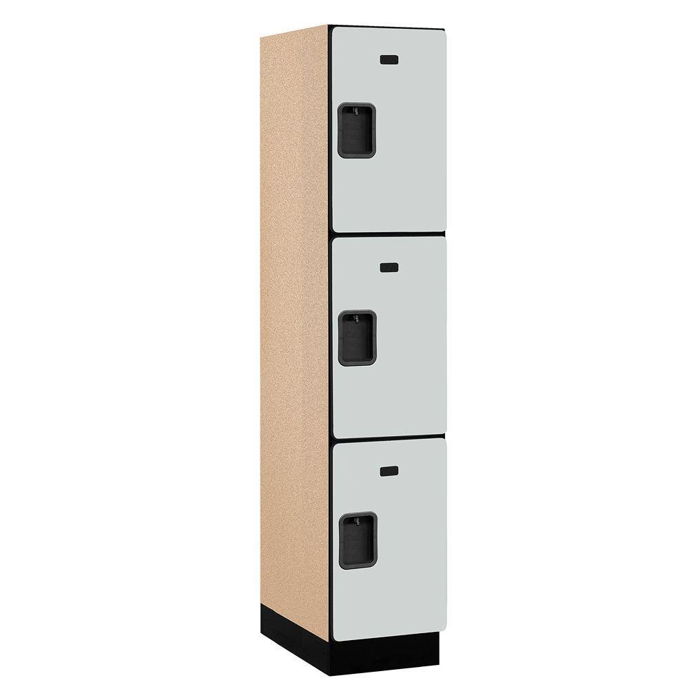 Salsbury Industries 23000 Series 3-Tier Wood Extra Wide Designer Locker in Gray - 15 in. W x 76 in. H x 21 in. D