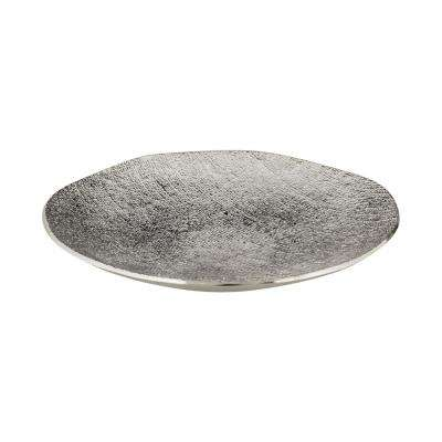 17 in. Textured Aluminum Decorative Bowl in Silver Plate