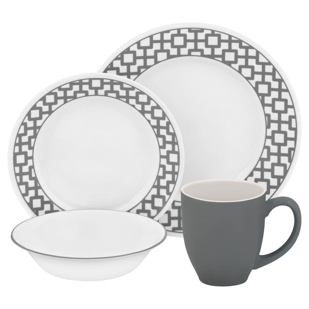 Corelle Impressions 16-Piece Gray and White Lattice Pattern Urban ...