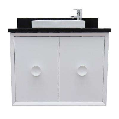 Stora 31 in. W x 22 in. D Wall Mount Bath Vanity in White with Granite Vanity Top in Black with White Round Basin