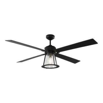 Rockland 60 in. Indoor/Outdoor Midnight Black Ceiling Fan with Light Kit and Remote Control