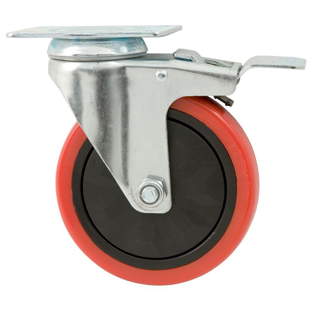 Everbilt 5 In Polyurethane Caster With Brake 4120945eb The Home