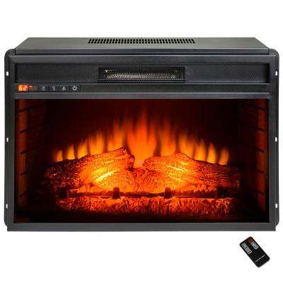 26 in. Freestanding Electric Fireplace Insert Heater in Black with Tempered Glass and Remote Control