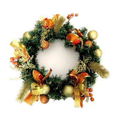 16 in. Unlit Artificial Christmas Wreath with Berry Clusters and Ornaments