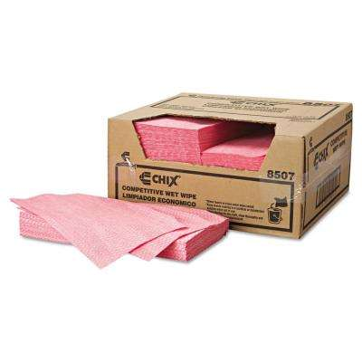 13-1/2 in. X 24 in. White/Pink Wet Wipes (200-Towels)