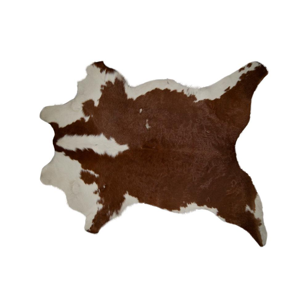 Natural Brown And White 2 Ft X 3 Calfskin Rug