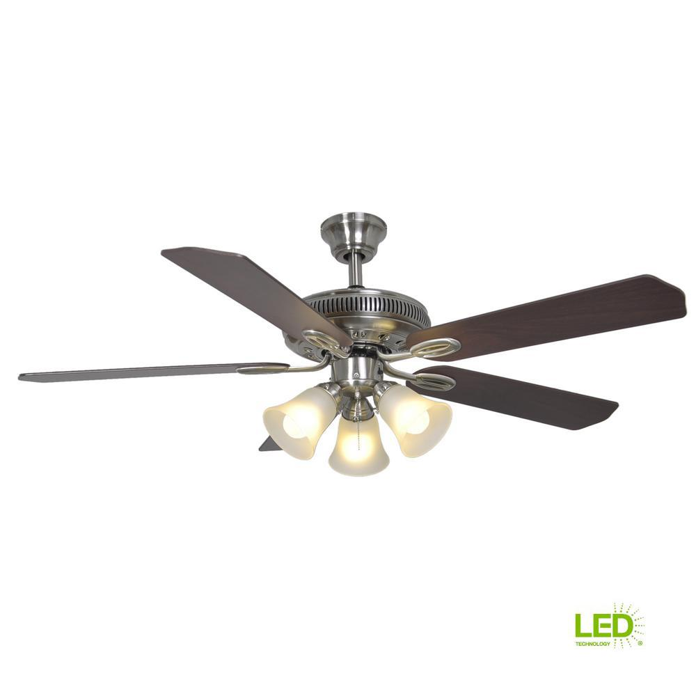 Hampton Bay Glendale 52 in. LED Indoor Brushed Nickel Ceiling Fan with  Light Kit