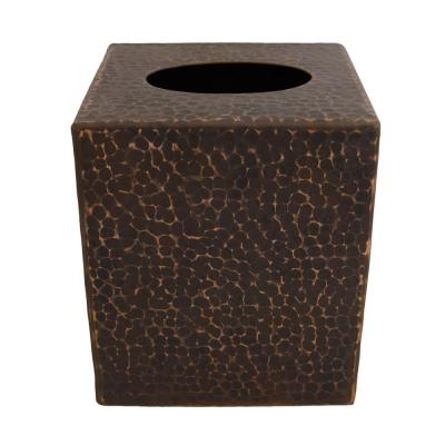 Small Hand Hammered Copper Tissue Box Cover in Oil Rubbed Bronze