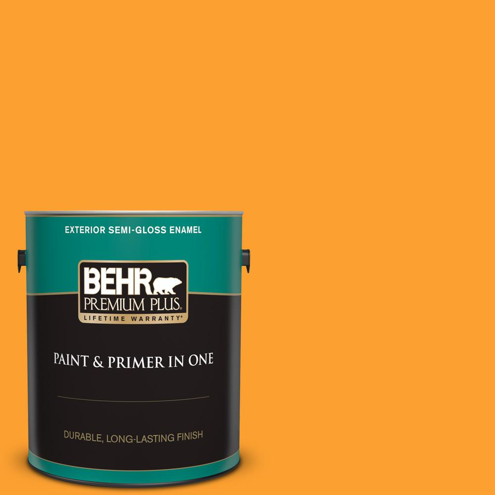 Behr Premium Plus 1 Gal P250 7 Blazing Bonfire Semi Gloss Enamel Exterior Paint And Primer In One 534001 The Home Depot