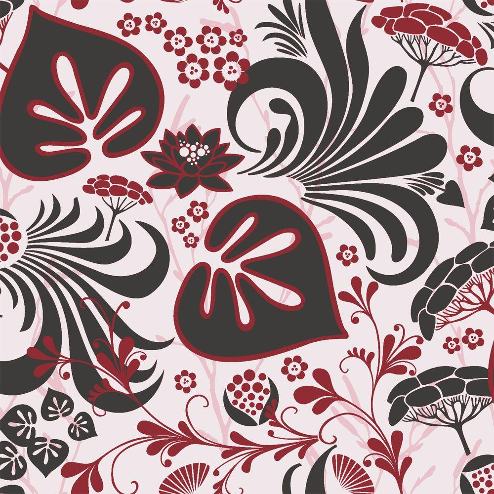 Brewster Red Modern Floral Motif Wallpaper Wv1317 The Home Depot