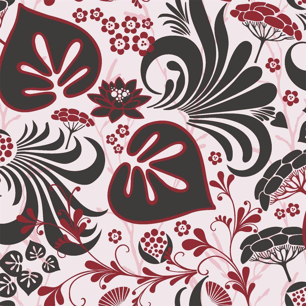 Red Modern Floral Motif Wallpaper