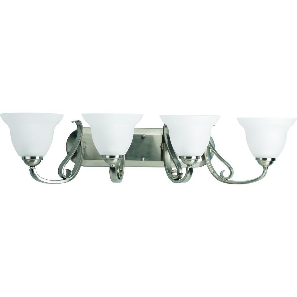 Torino 4-Light Brushed Nickel Bathroom Vanity Light with Glass Shades