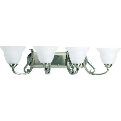 Torino 4-Light Brushed Nickel Bathroom Vanity Light with Glass Shades