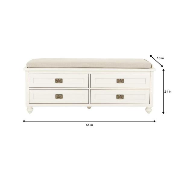 Home Decorators Collection Vernon Polar White 4 Drawer Storage Bench 9608910400 The Home Depot