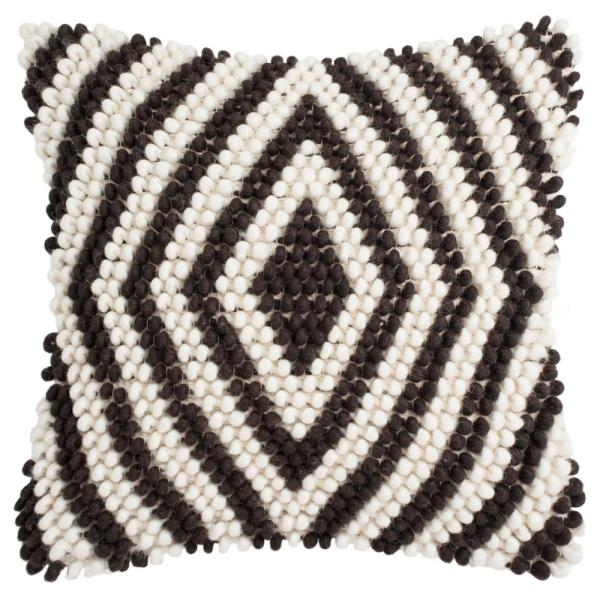 Diamond Milk Chocolate Geometric Down Alternative 20 in. x 20 in. Throw Pillow