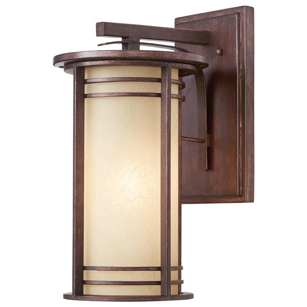 17.5 in. 1-Light Bronze Outdoor Wall Lantern with Amber Glass