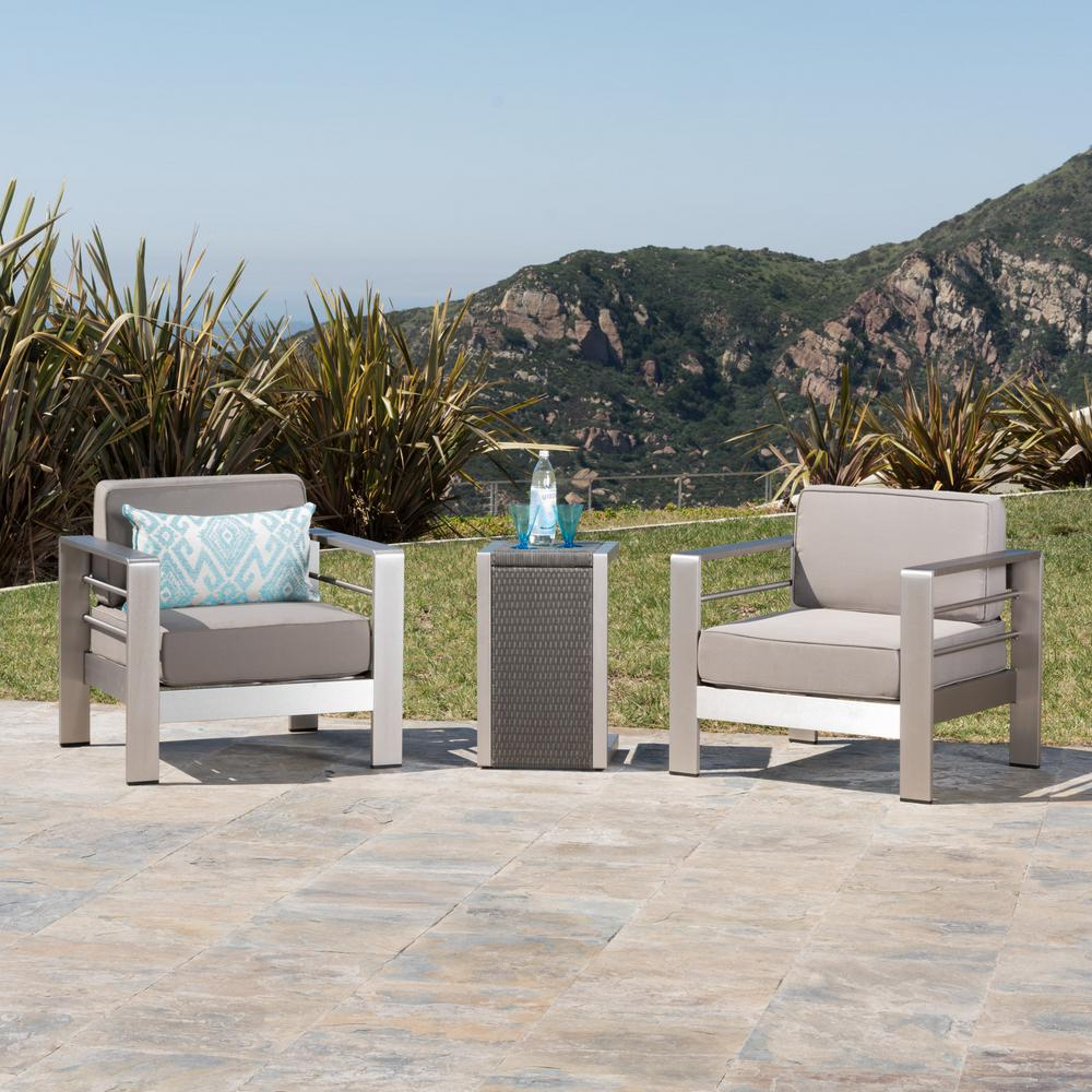 Noble House 3-Piece Metal and Wicker Patio Conversation Set with Khaki Cushions