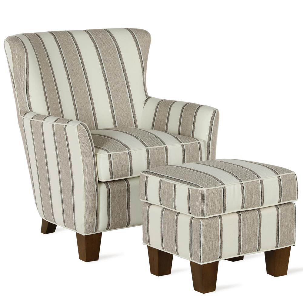 Pablo Beige Stripe Accent Chair & Ottoman Set